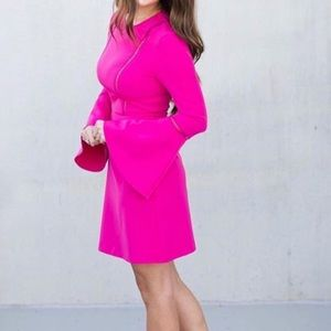 Charles Henry Fit & Flare Pink Bell Sleeve Dress